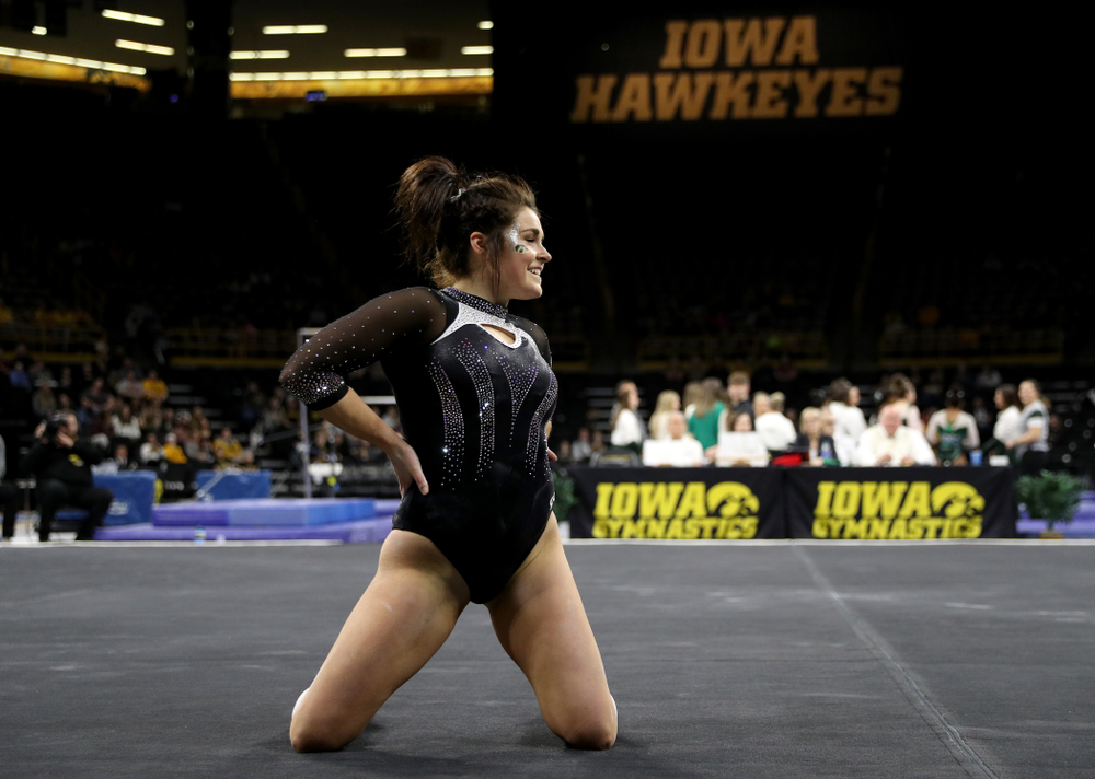 Iowa's Erin Castle competes on the floor against Michigan State Saturday, February 1, 2020 at Carver-Hawkeye Arena. (Brian Ray/hawkeyesports.com)