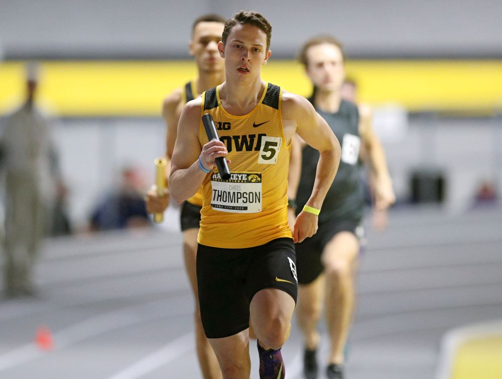 Iowa's Chris Thompson runs the men's 1600 meter relay event during the Hawkeye Invitational at the Recreation Building in Iowa City on Saturday, January 11, 2020. (Stephen Mally/hawkeyesports.com)
