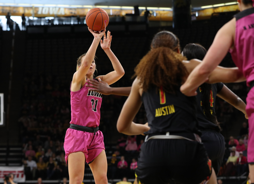 Iowa Hawkeyes forward Hannah Stewart (21) against the seventh ranked Maryland Terrapins Sunday, February 17, 2019 at Carver-Hawkeye Arena. (Brian Ray/hawkeyesports.com)