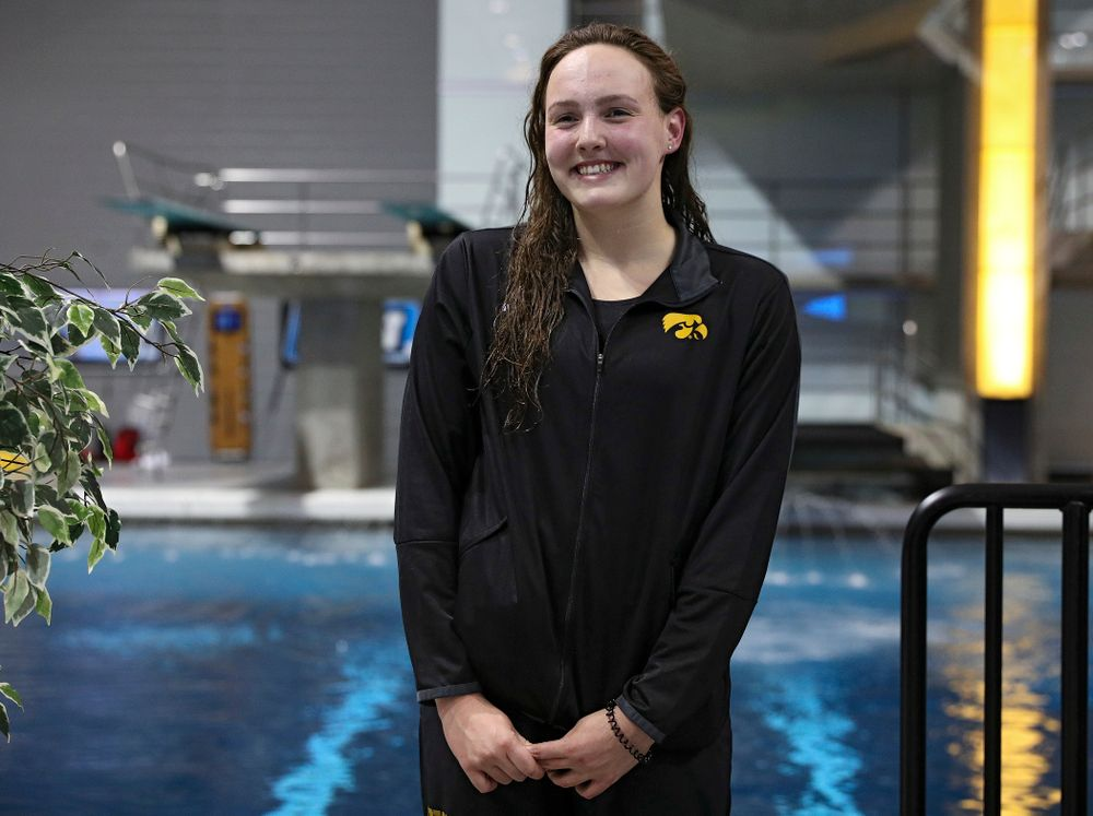 Iowa's Emilia Sansome on the awards stand after swimming the women's 200 yard backstroke final event during the 2020 Women's Big Ten Swimming and Diving Championships at the Campus Recreation and Wellness Center in Iowa City on Saturday, February 22, 2020. (Stephen Mally/hawkeyesports.com)