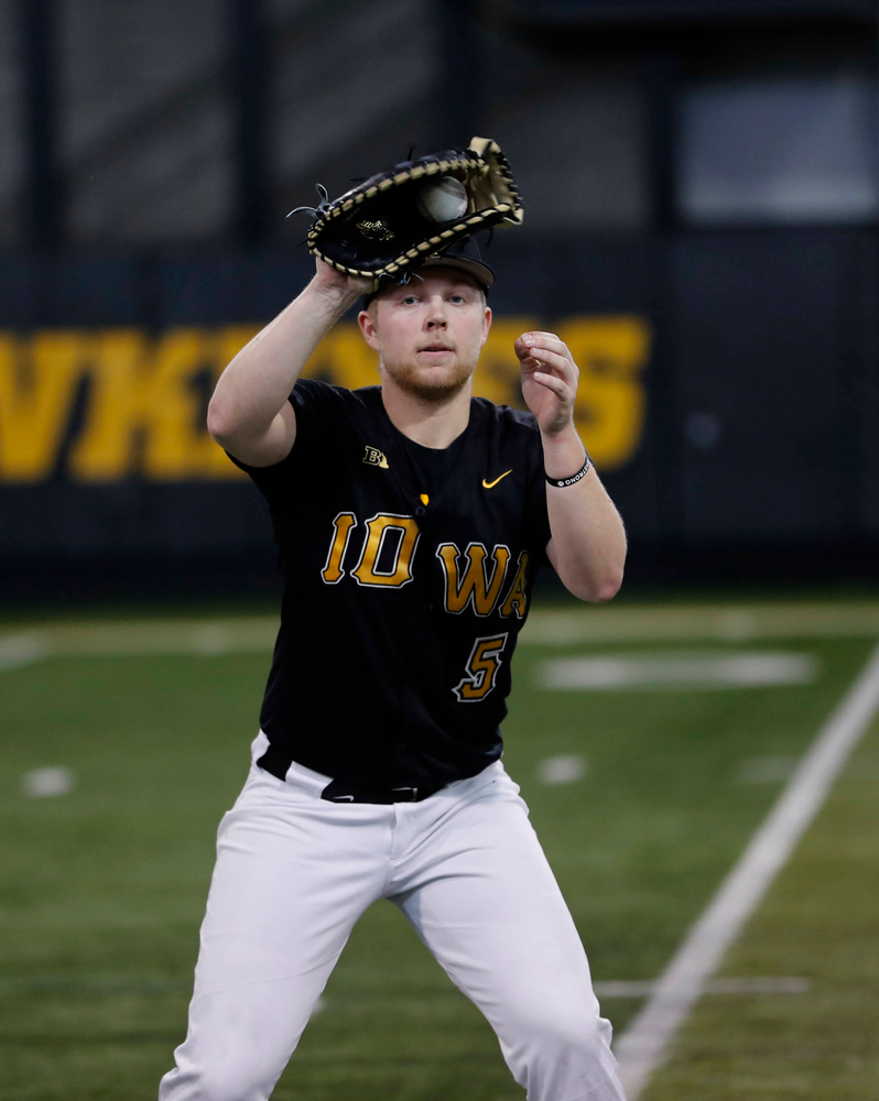 Zeb Adreon at first baseball practice on Jan. 25, 2019. (Darren Miller/hawkeyesports.com)
