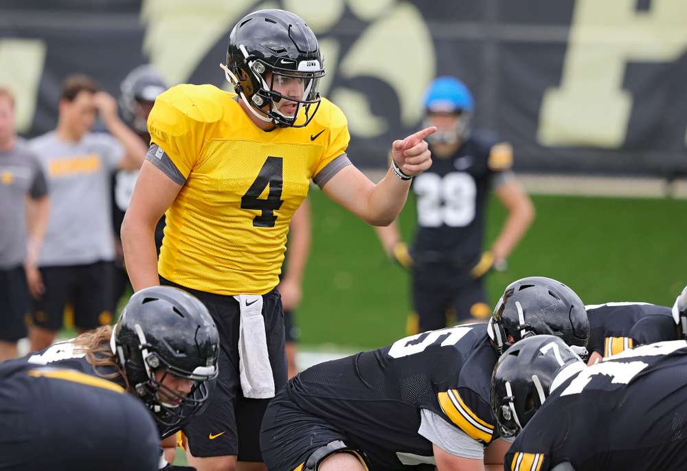 Iowa Hawkeyes quarterback Nate Stanley (4) points across the line during Fall Camp Practice No. 15 at the Hansen Football Performance Center in Iowa City on Monday, Aug 19, 2019. (Stephen Mally/hawkeyesports.com)