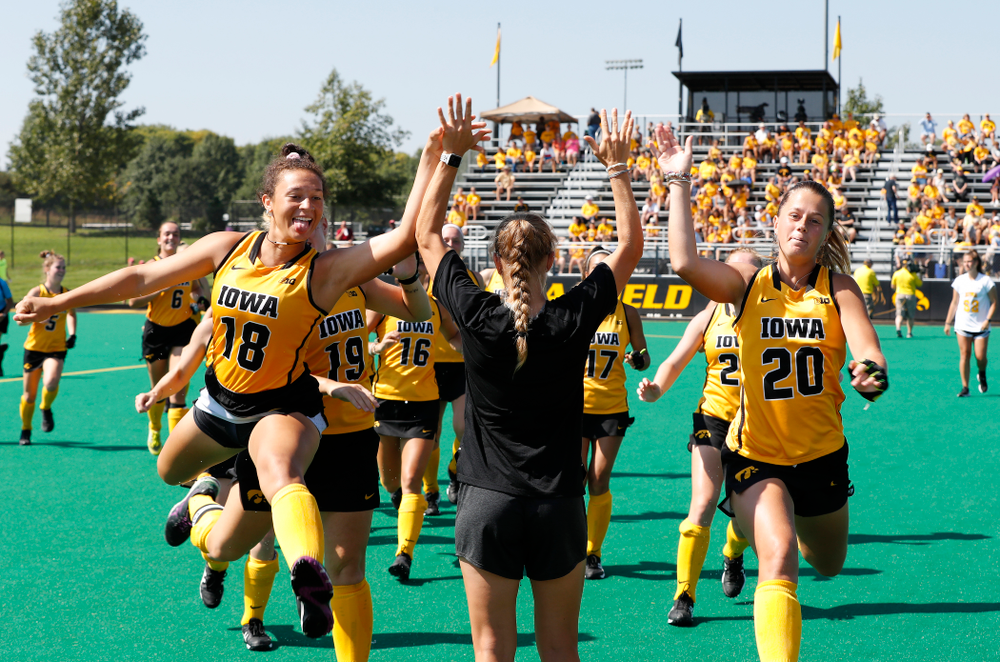 Iowa Hawkeyes Mya Christopher (18) and Sophie Sunderland (20) before their game against Indiana Sunday, September 16, 2018 at Grant Field. (Brian Ray/hawkeyesports.com)