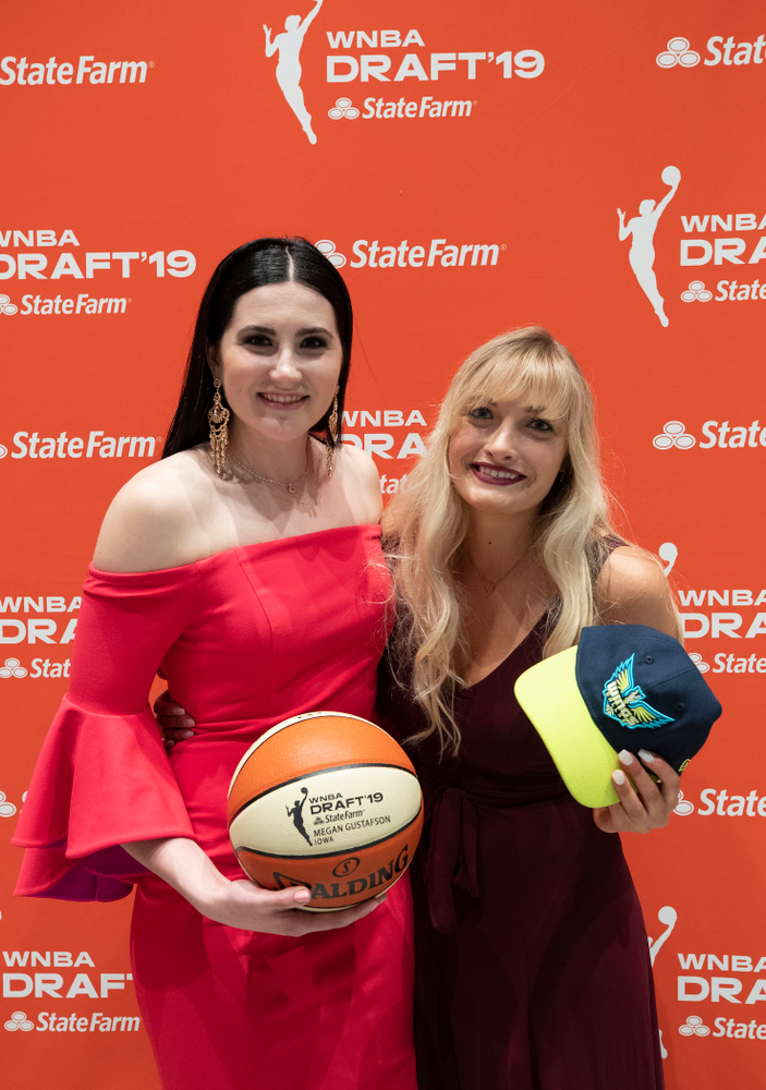 Iowa Hawkeyes forward Megan Gustafson (10) with her sister Emily after being selected by the Dallas Wings in the second round of the 2019 WNBA Draft Wednesday, April 10, 2019 at Nike New York Headquarters in New York City. (Brian Ray/hawkeyesports.com)
