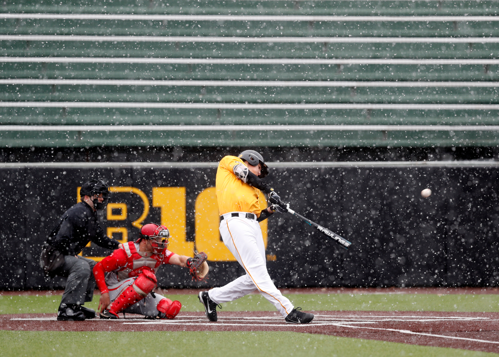 Iowa Hawkeyes pitcher Grant Judkins (7) against the Ohio State Buckeyes Sunday, April 8, 2018 at Duane Banks Field.(Brian Ray/hawkeyesports.com)