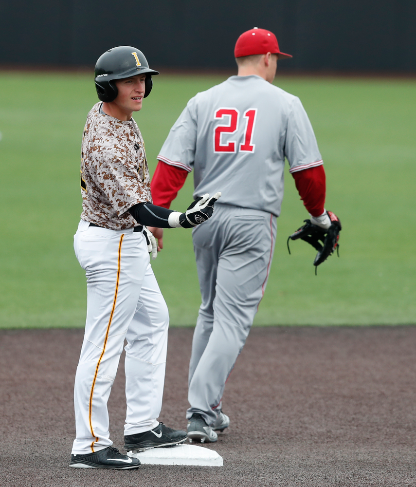 Iowa Hawkeyes catcher Tyler Cropley (5) during a double header against the Indiana Hoosiers Friday, March 23, 2018 at Duane Banks Field. (Brian Ray/hawkeyesports.com)