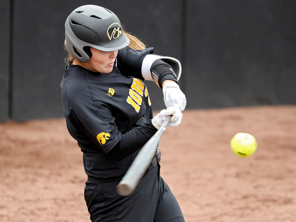 Iowa's Miranda Schulte (20) bats during the fourth inning of their game against Iowa Softball vs Indian Hills Community College at Pearl Field in Iowa City on Sunday, Oct 6, 2019. (Stephen Mally/hawkeyesports.com)