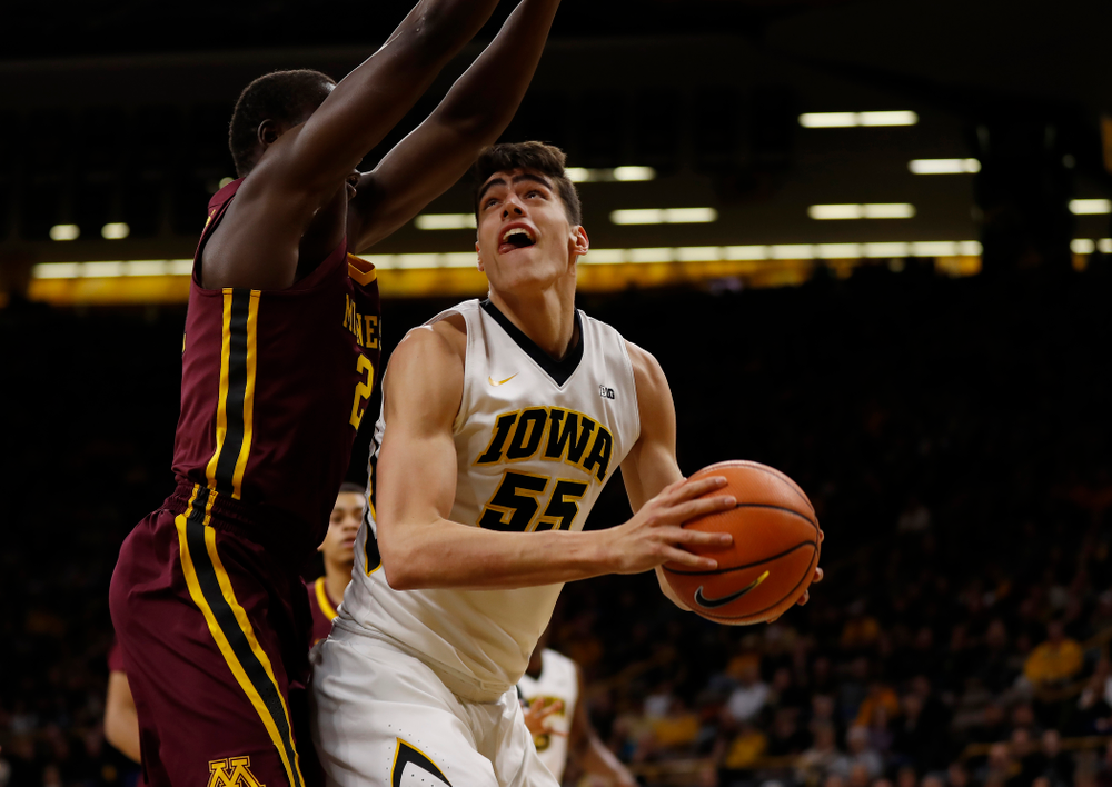 Iowa Hawkeyes forward Luka Garza (55)