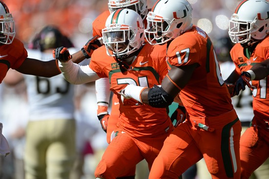 University of Miami Hurricanes defensive back Antonio Crawford #21 celebrates after intercepting a ball in a game against the Wake Forest Demon...