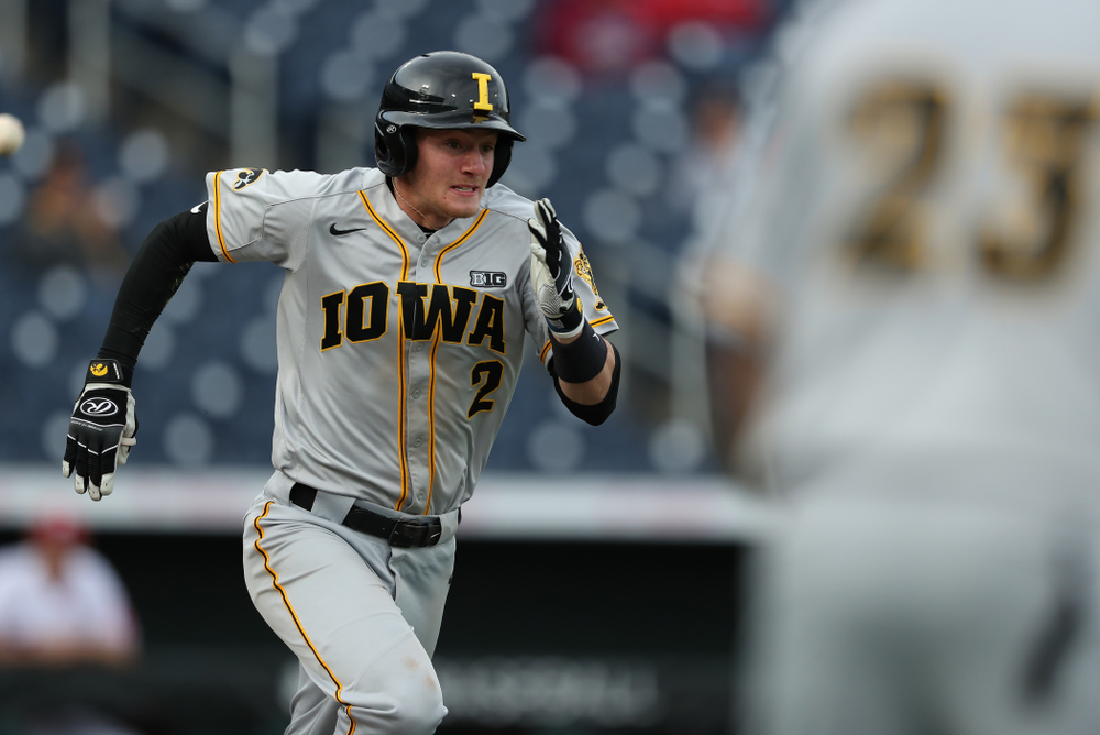 Iowa Hawkeyes infielder Brendan Sher (2) against the Indiana Hoosiers in the first round of the Big Ten Baseball Tournament Wednesday, May 22, 2019 at TD Ameritrade Park in Omaha, Neb. (Brian Ray/hawkeyesports.com)