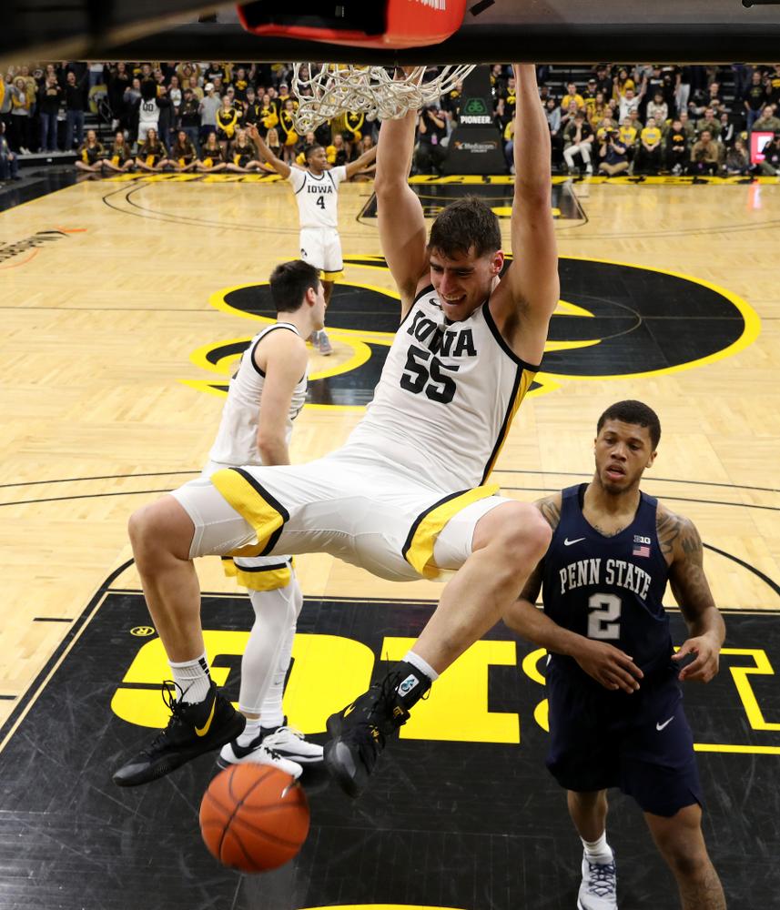 Iowa Hawkeyes forward Luka Garza (55) dunks the ball against Penn State Saturday, February 29, 2020 at Carver-Hawkeye Arena. (Brian Ray/hawkeyesports.com)