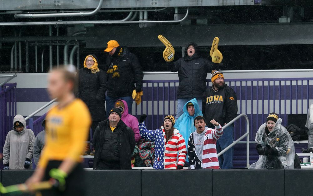 Fans cheer on the Iowa Hawkeyes against Maryland during the championship game of the Big Ten Tournament Sunday, November 4, 2018 at Lakeside Field in Evanston, Ill. (Brian Ray/hawkeyesports.com)