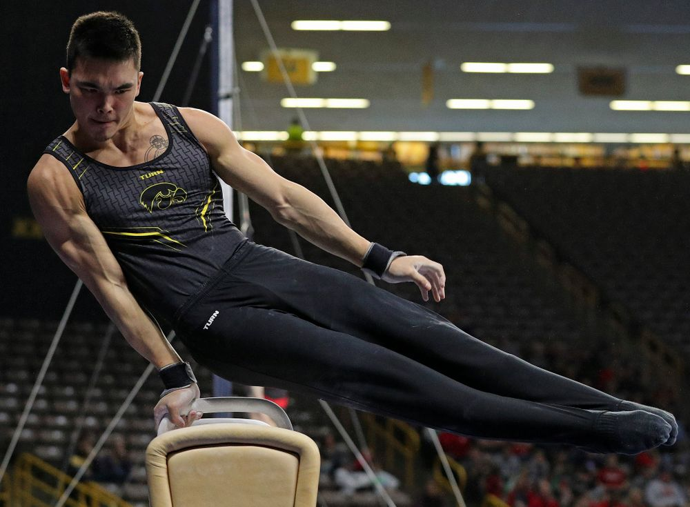 Iowa's Addison Chung competes in the pommel during the first day of the Big Ten Men's Gymnastics Championships at Carver-Hawkeye Arena in Iowa City on Friday, Apr. 5, 2019. (Stephen Mally/hawkeyesports.com)
