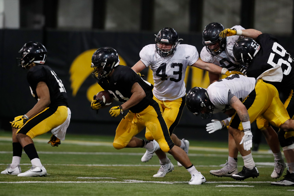 Iowa Hawkeyes running back Ivory Kelly-Martin (21) during spring practice No. 13 Wednesday, April 18, 2018 at the Hansen Football Performance Center. (Brian Ray/hawkeyesports.com)