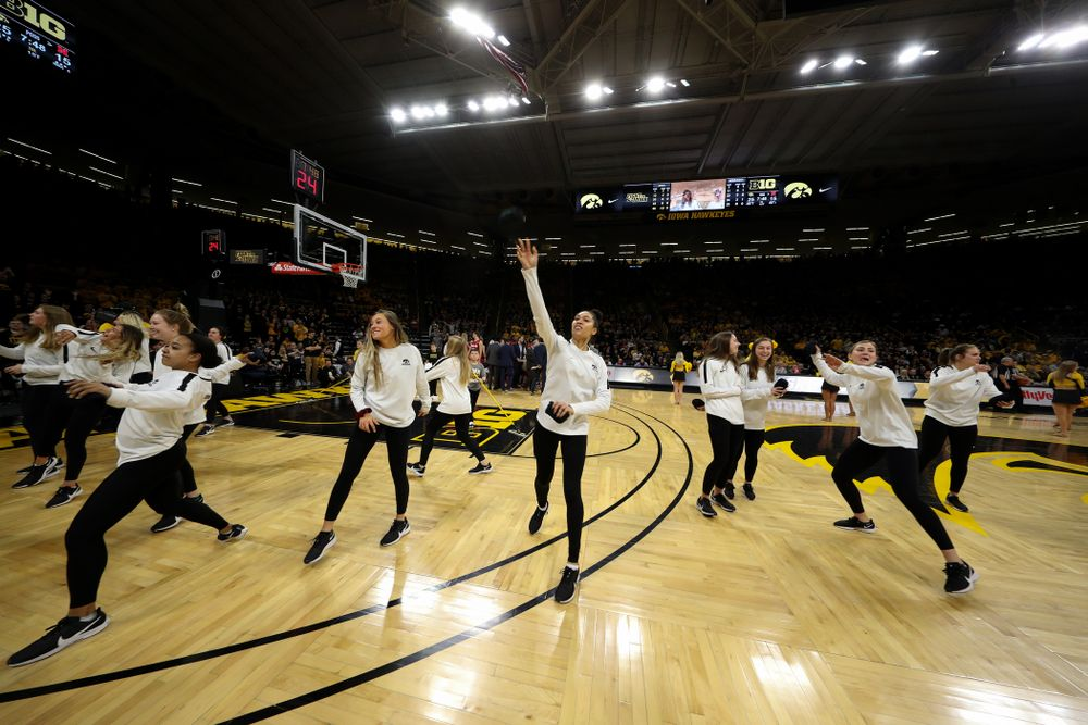 The Iowa Soccer Team is recognized during the Iowa Hawkeyes game against the Nebraska Cornhuskers Saturday, February 8, 2020 at Carver-Hawkeye Arena. (Brian Ray/hawkeyesports.com)
