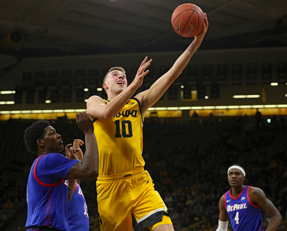 Iowa Hawkeyes guard Joe Wieskamp (10) makes a basket during the first half of their game at Carver-Hawkeye Arena in Iowa City on Monday, Nov 11, 2019. (Stephen Mally/hawkeyesports.com)