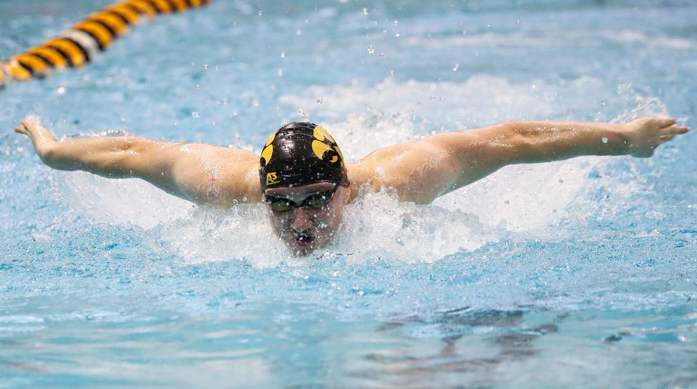 Iowa's Michal Brzus competes in the 100-yard butterfly during a meet against Michigan and Denver at the Campus Recreation and Wellness Center on November 3, 2018. (Tork Mason/hawkeyesports.com)