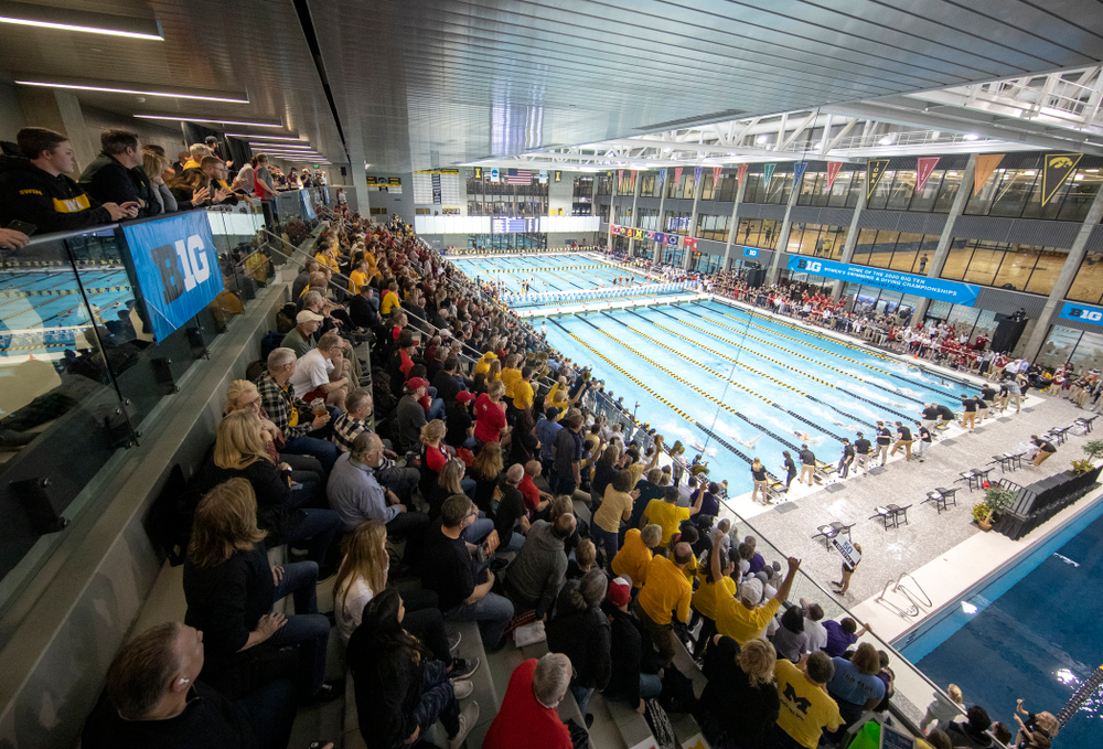 The women's 50 yard freestyle finals event during the 2020 Women's Big Ten Swimming and Diving Championships at the Campus Recreation and Wellness Center in Iowa City on Thursday, February 20, 2020. (Stephen Mally/hawkeyesports.com)