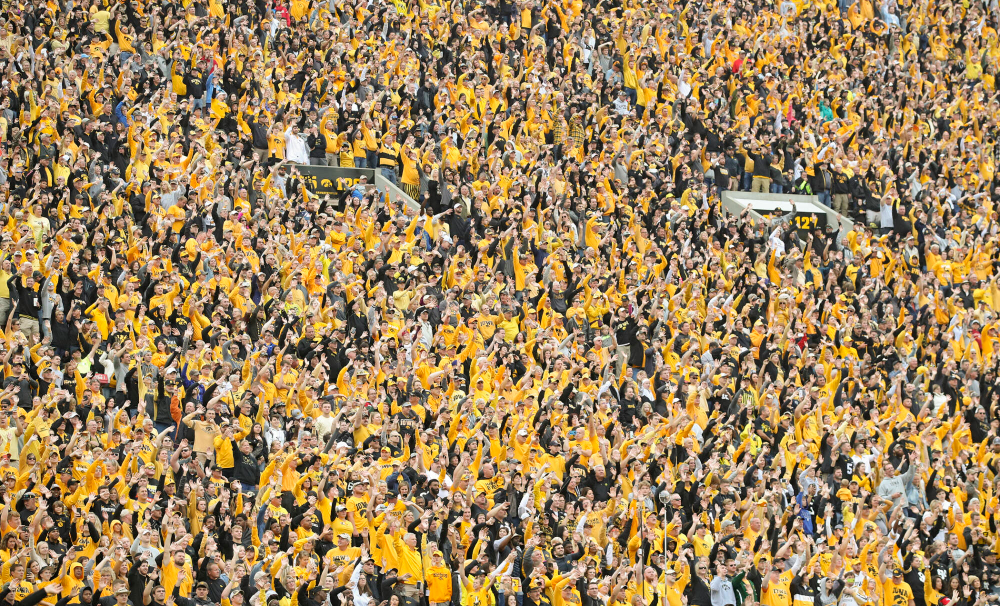 Fans wave to the University of Iowa Stead Family Children's Hospital between the first and second quarter of their game at Kinnick Stadium in Iowa City on Saturday, Sep 28, 2019. (Stephen Mally/hawkeyesports.com)