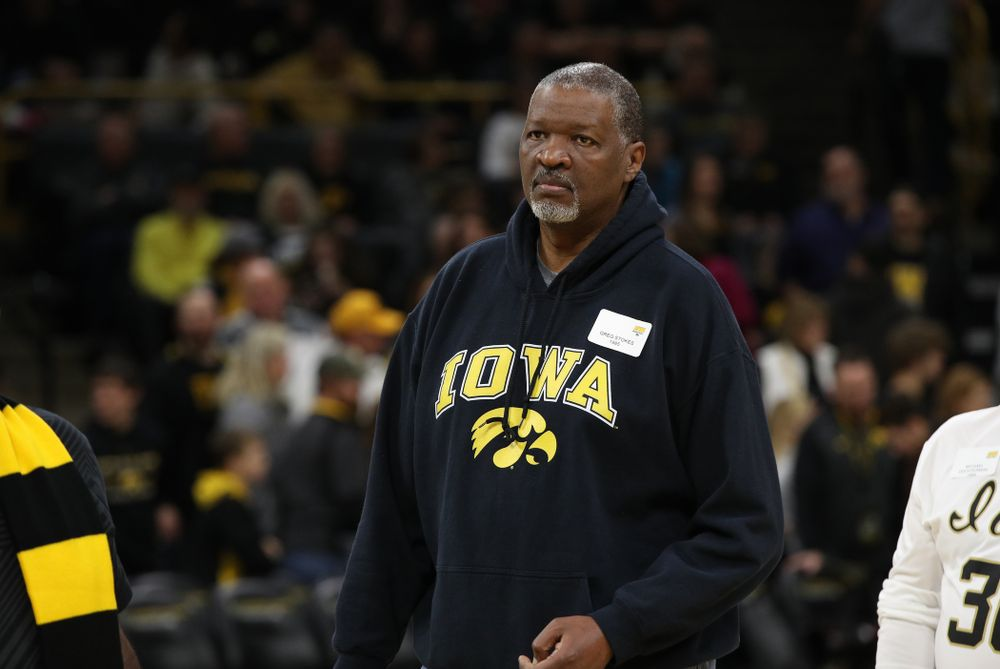 Former Iowa Hawkeye letterman Greg Stokes is  recognized during half-time against the Ohio State Buckeyes Saturday, January 12, 2019 at Carver-Hawkeye Arena. (Brian Ray/hawkeyesports.com)