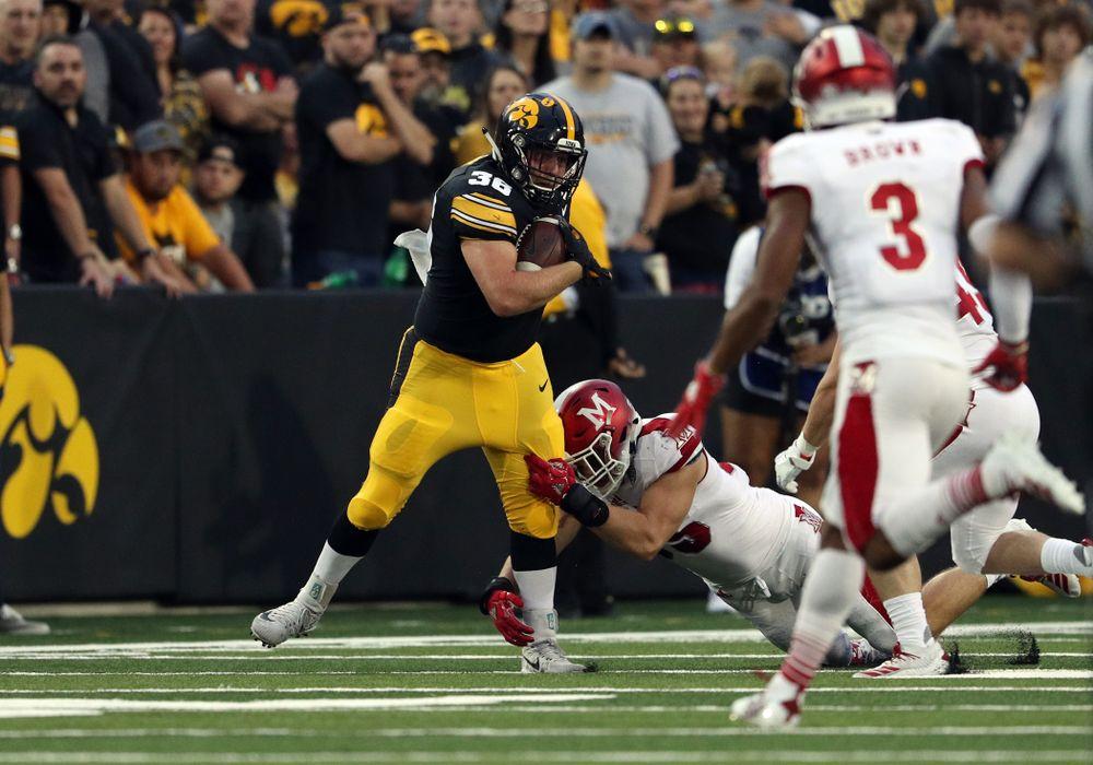 Iowa Hawkeyes fullback Brady Ross (36) against the Miami RedHawks Saturday, August 31, 2019 at Kinnick Stadium in Iowa City. (Brian Ray/hawkeyesports.com)