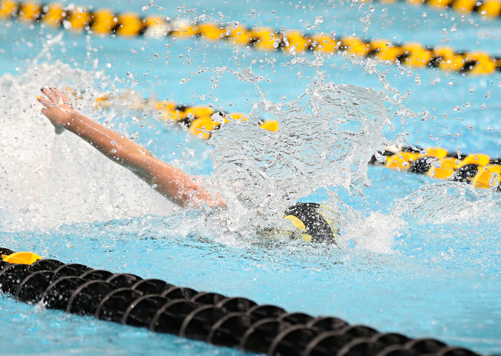 Iowa's Kennedy Gilbertson swims the freestyle section of the 200 yard medley relay event during the 2020 Big Ten Women's Swimming and Diving Championships at the Campus Recreation and Wellness Center in Iowa City on Wednesday, February 19, 2020. (Stephen Mally/hawkeyesports.com)
