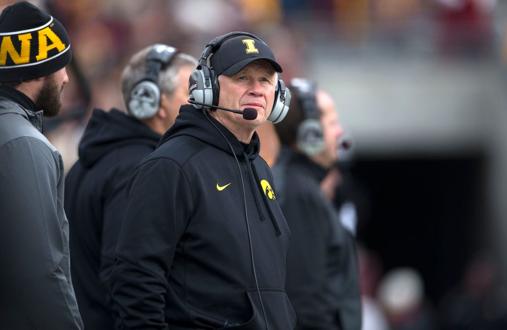 Iowa Hawkeyes defensive line coach Reese Morgan works the sideline during the second half of their game against the Minnesota Golden Gophers Saturday, Nov. 8, 2014 at TCF Bank Stadium in Minneapolis, Minn.  (Brian Ray/hawkeyesports.com)