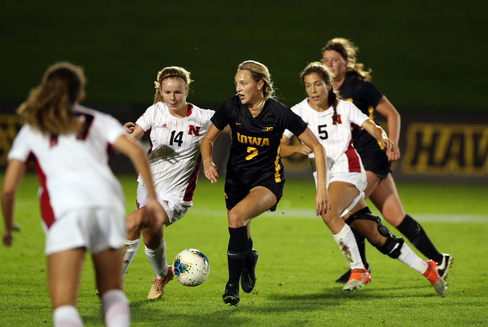 Iowa Hawkeyes midfielder Hailey Rydberg (2) against the Nebraska Cornhuskers Thursday, October 3, 2019 at the Iowa Soccer Complex. (Brian Ray/hawkeyesports.com)
