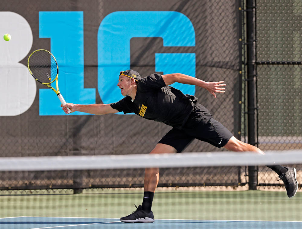 Iowa's Joe Tyler competes during a match against Ohio State at the Hawkeye Tennis and Recreation Complex in Iowa City on Sunday, Apr. 7, 2019. (Stephen Mally/hawkeyesports.com)