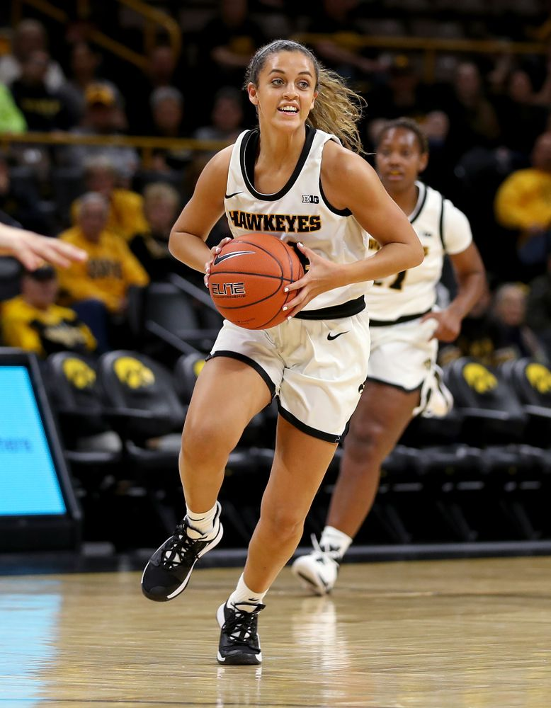 Iowa Hawkeyes guard Gabbie Marshall (24) against North Carolina Central Saturday, December 14, 2019 at Carver-Hawkeye Arena. (Brian Ray/hawkeyesports.com)