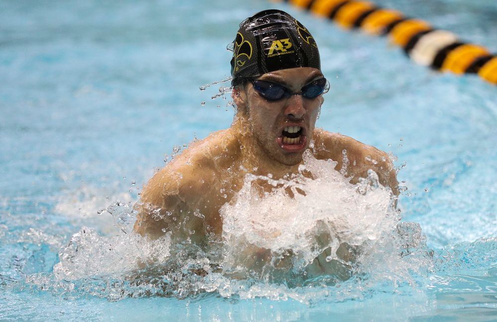 Iowa's Weston Credit competes in the 200-yard breaststroke during the third day of the Hawkeye Invitational at the Campus Recreation and Wellness Center on November 17, 2018. (Tork Mason/hawkeyesports.com)