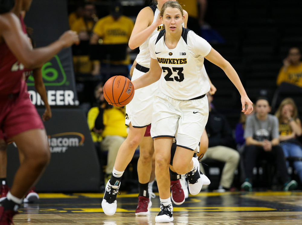 Iowa Hawkeyes forward Logan Cook (23) brings the ball up the floor during a game against North Carolina Central at Carver-Hawkeye Arena on November 17, 2018. (Tork Mason/hawkeyesports.com)