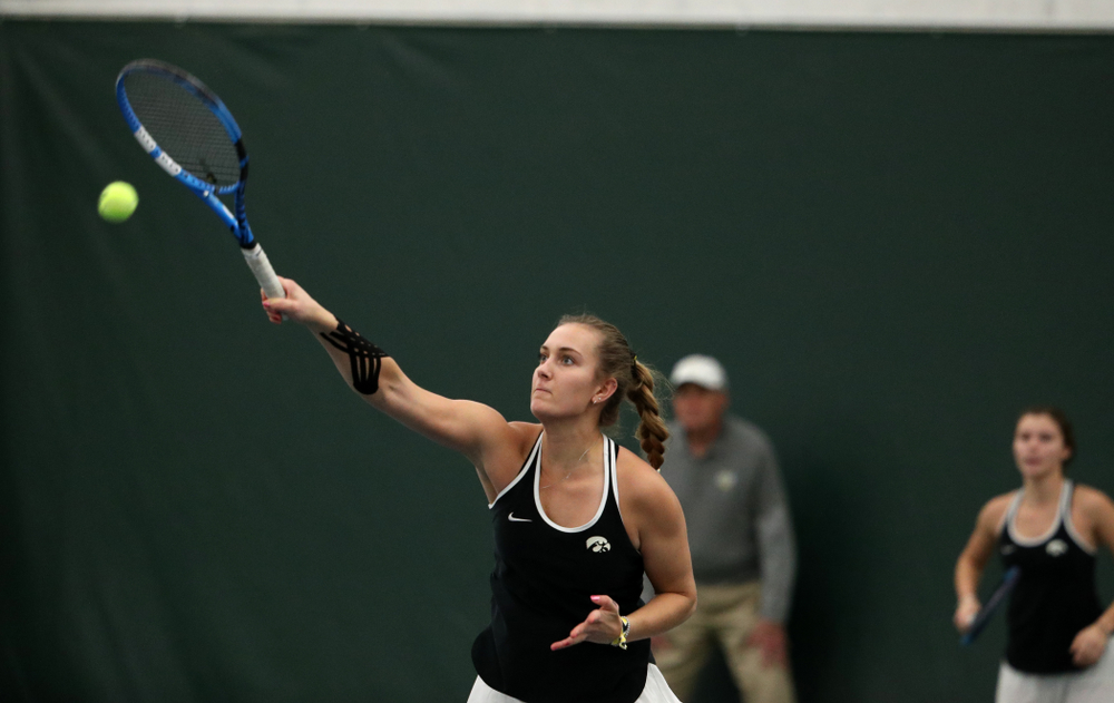 Iowa's Ashleigh Jacobs during a doubles match against North Texas Sunday, January 20, 2019 at the Hawkeye Tennis and Recreation Center. (Brian Ray/hawkeyesports.com)