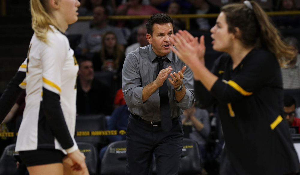 Iowa Hawkeyes head coach Bond Shymansky reacts after a point during a match against Rutgers at Carver-Hawkeye Arena on November 2, 2018. (Tork Mason/hawkeyesports.com)