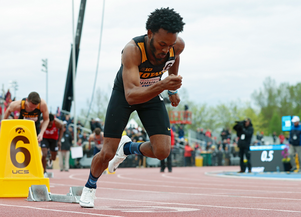 Iowa's May'yea Harris runs the men's 400 meter dash event on the second day of the Big Ten Outdoor Track and Field Championships at Francis X. Cretzmeyer Track in Iowa City on Saturday, May. 11, 2019. (Stephen Mally/hawkeyesports.com)