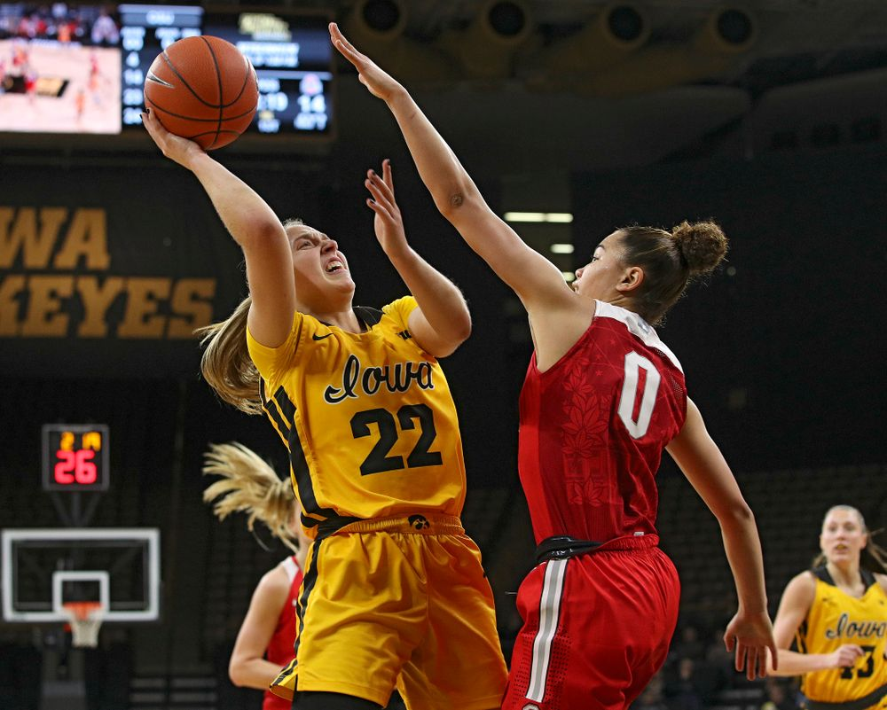 Iowa Hawkeyes guard Kathleen Doyle (22) puts up a shot during the first quarter of their game at Carver-Hawkeye Arena in Iowa City on Thursday, January 23, 2020. (Stephen Mally/hawkeyesports.com)