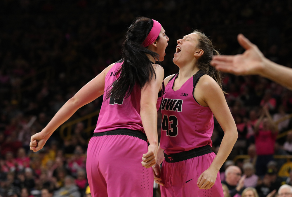 Iowa Hawkeyes forward Megan Gustafson (10) and forward Amanda Ollinger (43) against the seventh ranked Maryland Terrapins Sunday, February 17, 2019 at Carver-Hawkeye Arena. (Brian Ray/hawkeyesports.com)
