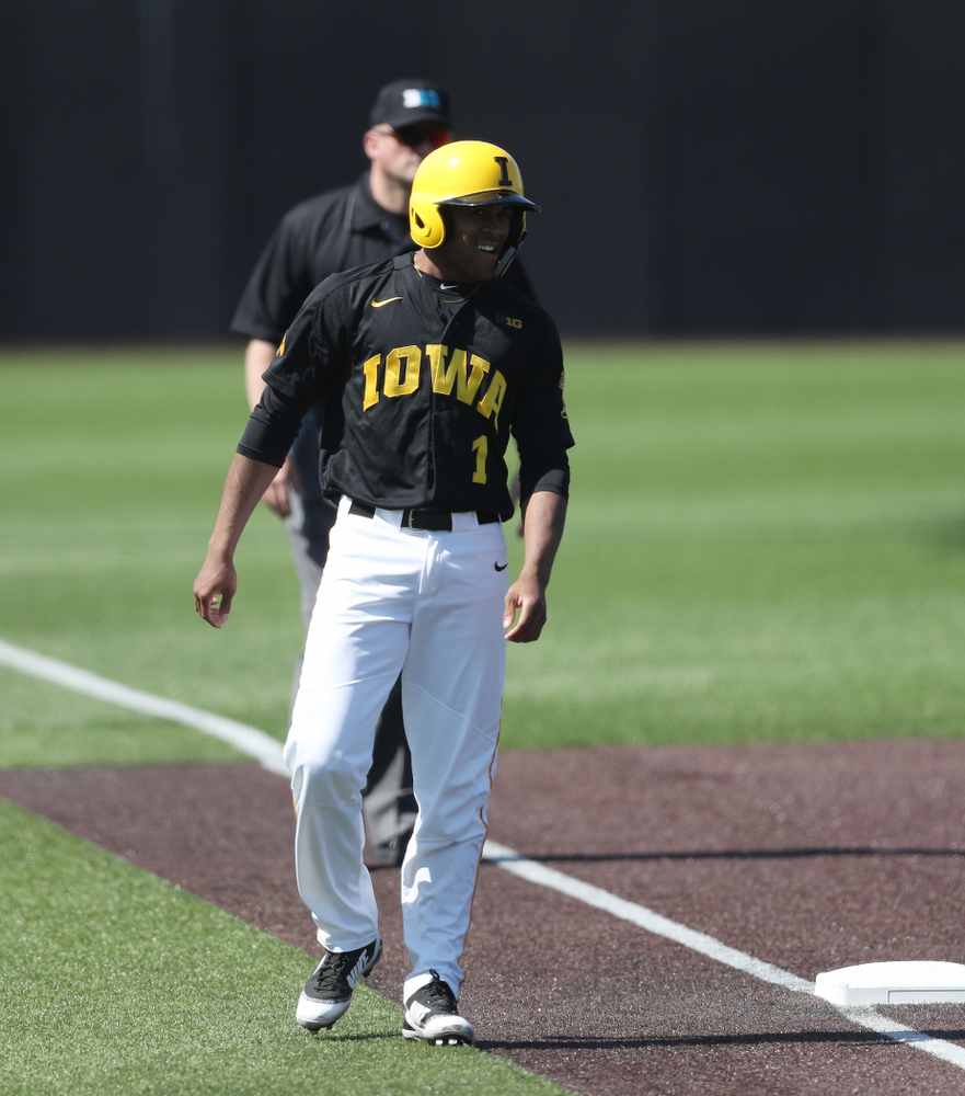 Iowa Hawkeyes infielder Lorenzo Elion (1) during game two against UC Irvine Saturday, May 4, 2019 at Duane Banks Field. (Brian Ray/hawkeyesports.com)