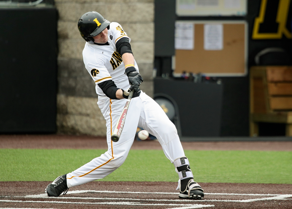Iowa catcher Brett McCleary (32) bats during the second inning of their college baseball game at Duane Banks Field in Iowa City on Wednesday, March 11, 2020. (Stephen Mally/hawkeyesports.com)