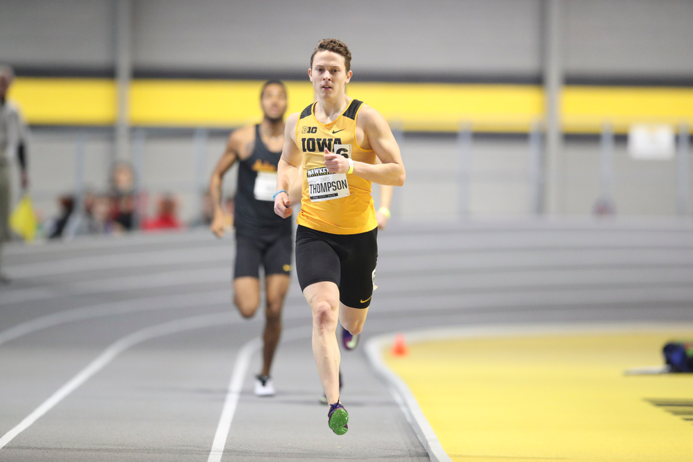 Iowa's Chris Thompson runs the men's 600 meter run event during the Hawkeye Invitational at the Recreation Building in Iowa City on Saturday, January 11, 2020. (Stephen Mally/hawkeyesports.com)