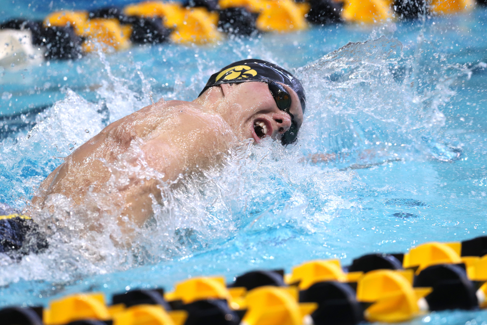 Iowa's Forrest White competes in the 200-yard freestyle on the third day at the 2019 Big Ten Swimming and Diving Championships Thursday, February 28, 2019 at the Campus Wellness and Recreation Center. (Brian Ray/hawkeyesports.com)