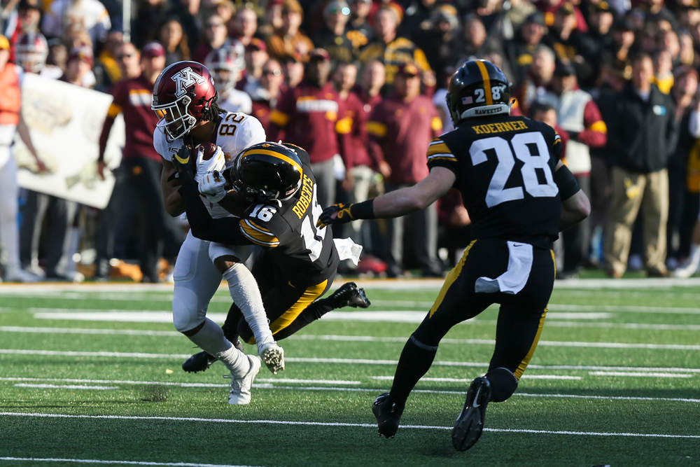 Iowa Hawkeyes defensive back Terry Roberts (16) and owa Hawkeyes defensive back Jack Koerner (28) during Iowa football vs Minnesota on Saturday, November 16, 2019 at Kinnick Stadium. (Lily Smith/hawkeyesports.com)