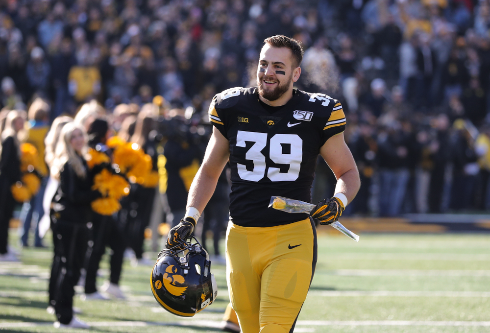 Iowa Hawkeyes tight end Nate Wieting (39) during Senior Day festivities before their game against the Illinois Fighting Illini Saturday, November 23, 2019 at Kinnick Stadium. (Brian Ray/hawkeyesports.com)