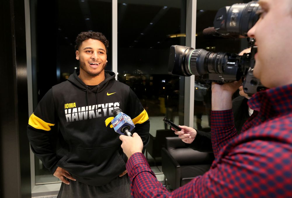 Iowa Hawkeyes defensive back Geno Stone (9) answers questions from the media on the Hawkeyes selection to face USC in the 2019 Holiday Bowl Sunday, December 8, 2019 at the Hansen Football Performance Center. (Brian Ray/hawkeyesports.com)