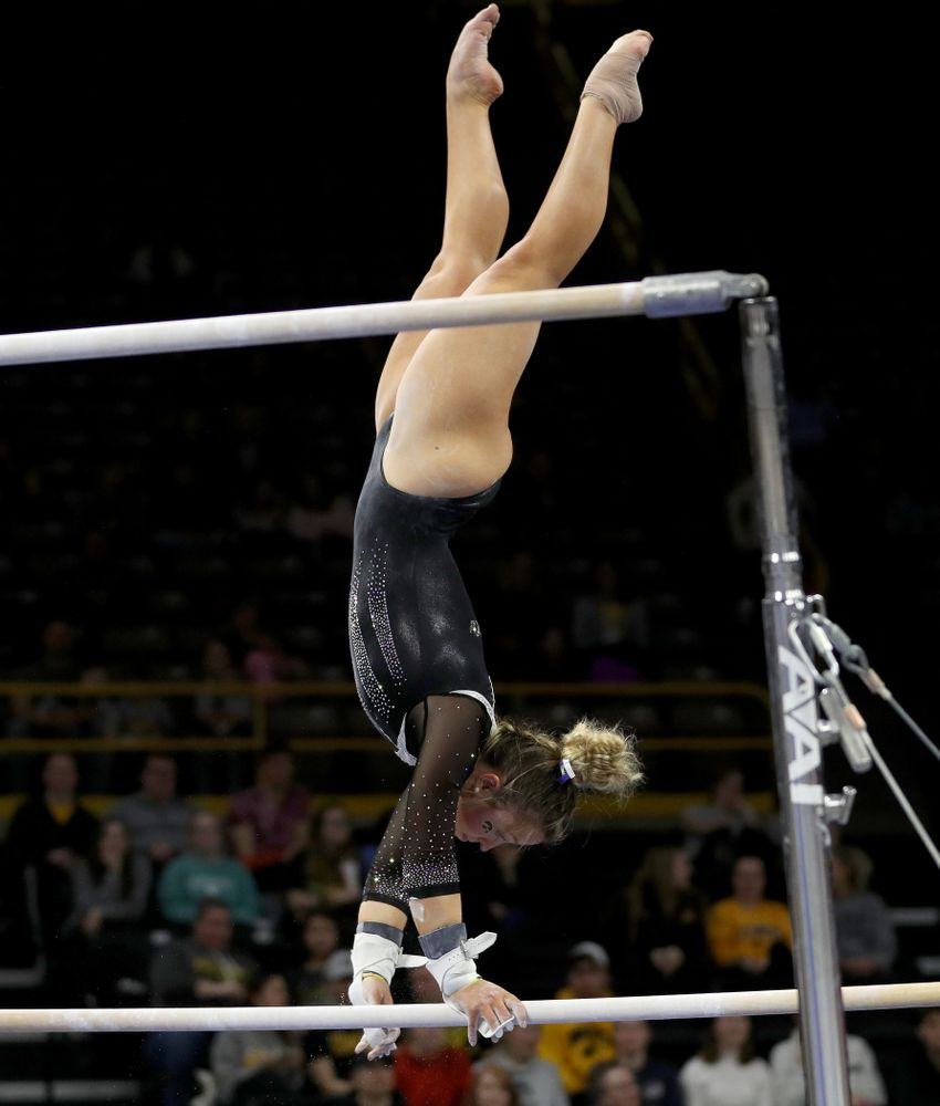 Iowa's Maddie Kampschroeder competes on the bars against Michigan State Saturday, February 1, 2020 at Carver-Hawkeye Arena. (Brian Ray/hawkeyesports.com)