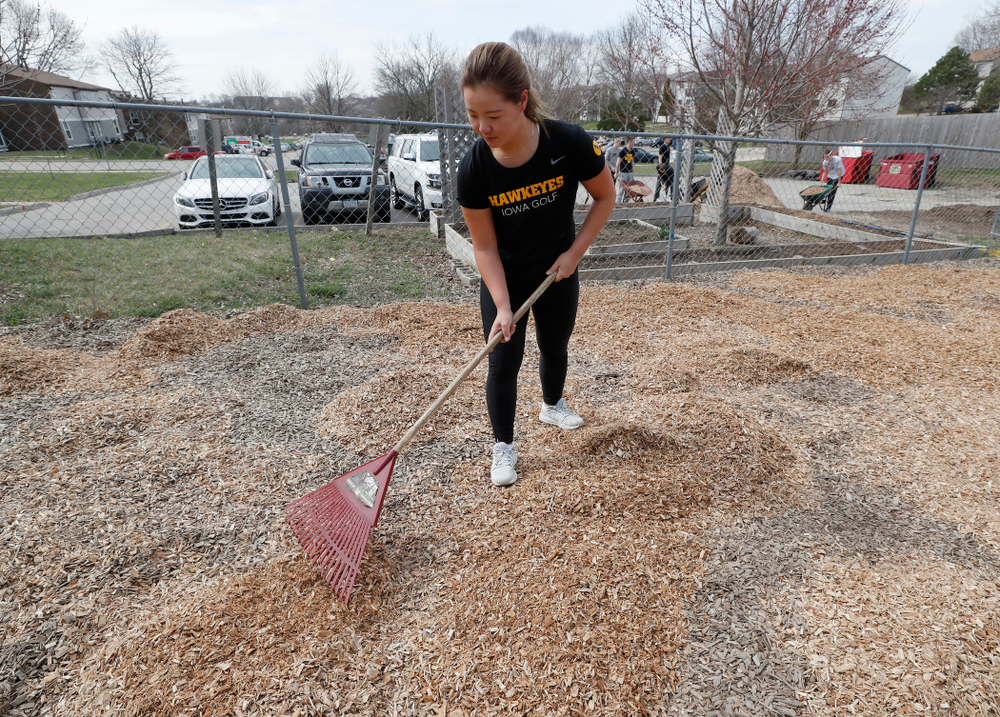 Members of the Iowa Women's Golf Team  volunteer during the Iowa Athletics Department's annual Day of Caring Sunday, April 22, 2018. (Brian Ray/hawkeyesports.com)