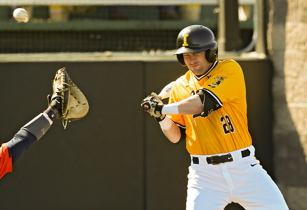 Iowa Hawkeyes designated hitter Chris Whelan (28) is hit by a pitch during the seventh inning against Illinois at Duane Banks Field in Iowa City on Sunday, Mar. 31, 2019. (Stephen Mally/hawkeyesports.com)