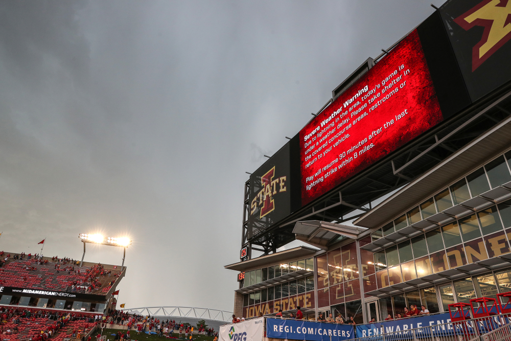 A weather delay stops the Iowa Hawkeyes game against the Iowa State Cyclones Saturday, September 14, 2019 at Jack Trice Stadium in Ames, Iowa. (Brian Ray/hawkeyesports.com)