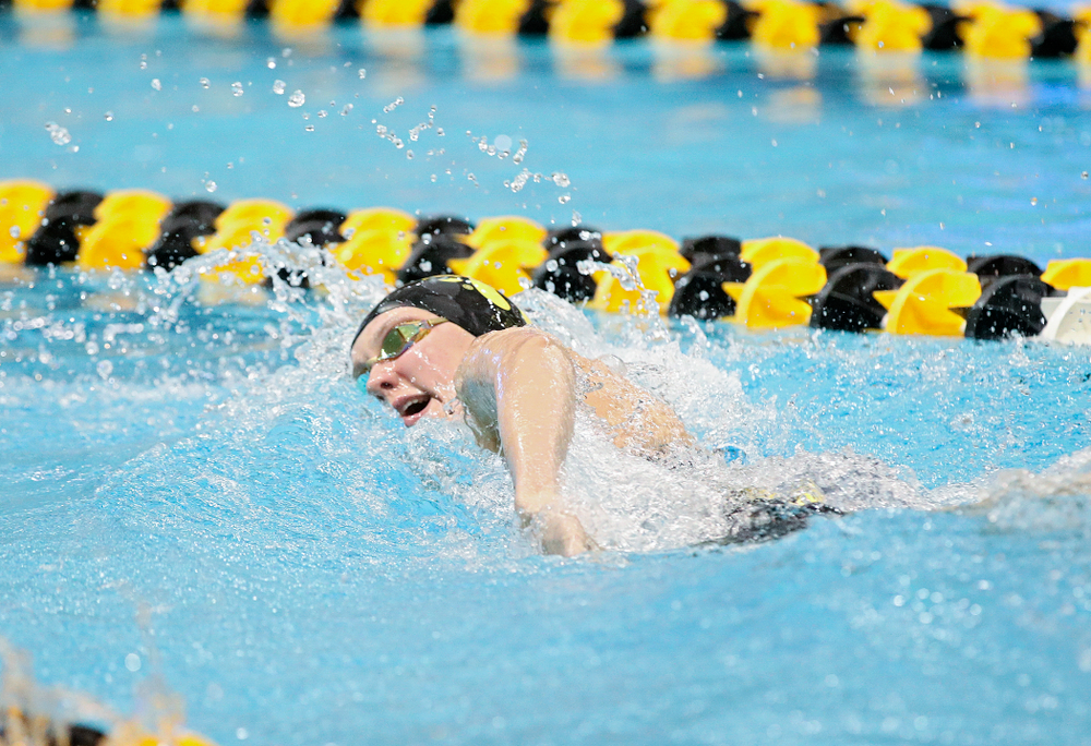 Iowa's Macy Rink swims the women's 200 yard freestyle C final event during the 2020 Women's Big Ten Swimming and Diving Championships at the Campus Recreation and Wellness Center in Iowa City on Friday, February 21, 2020. (Stephen Mally/hawkeyesports.com)