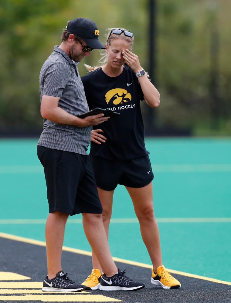 Assistant Coaches Michal Boal and Roz Ellis against Ball State Sunday, September 2, 2018 at Grant Field. (Brian Ray/hawkeyesports.com)